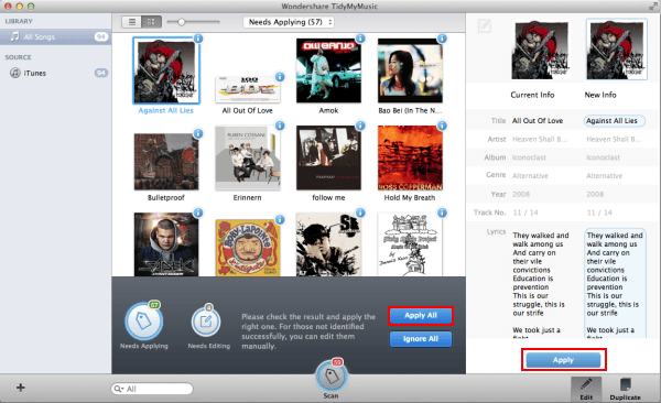 how to get track names for itunes