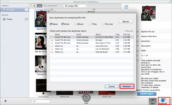 mac tidymymusic-remove duplicates