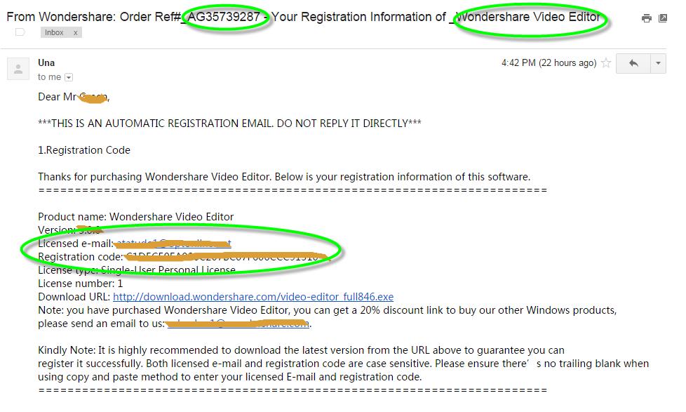 email sent licensed code