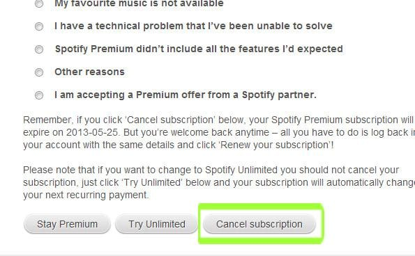 cancel Spotify premium and cancel Spotify trial