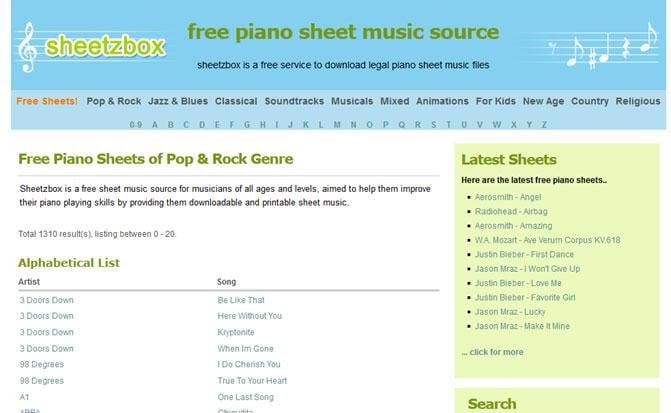 Online Music Sheets