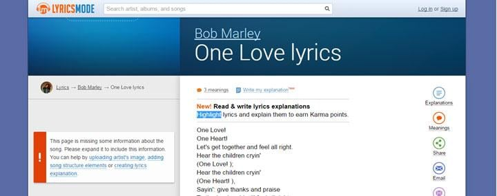 Top  5 Music Lyrics Search Engine