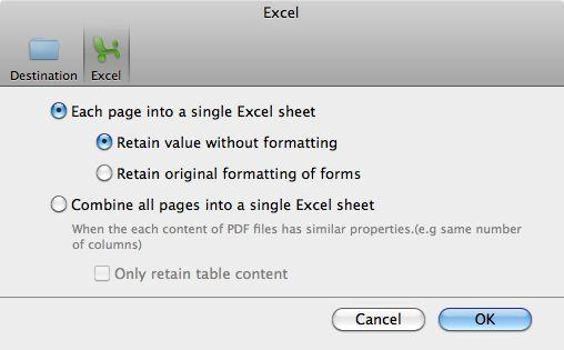 PDF to Excel preferences