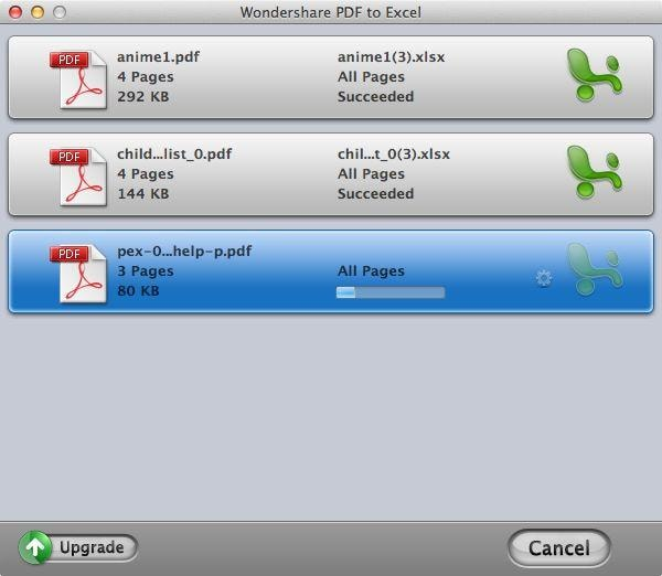 Wondershare PDF to Excel for Mac Screenshot