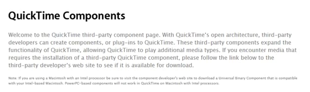 Perian is too old for QuickTime
