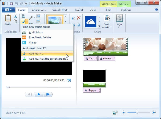windows movie maker effects