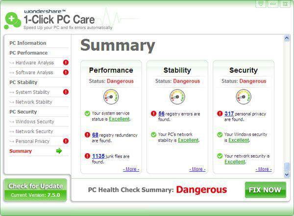 Wondershare 1-Click PC Care Screenshot