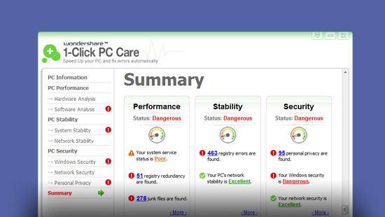 Wondershare 1-Click PC Care feature image