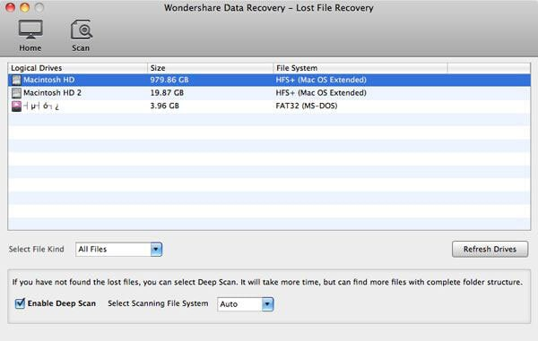 select file types and recovery path