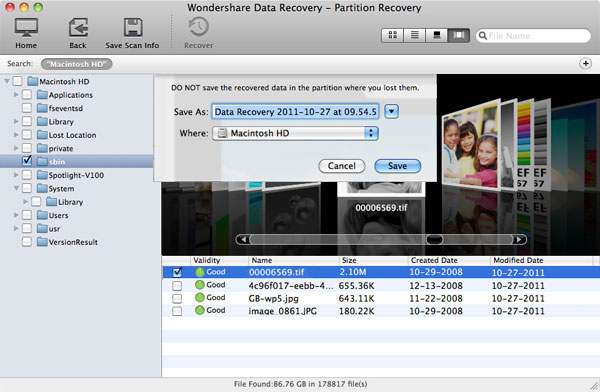 Select Recovery Path-Partition Recovery