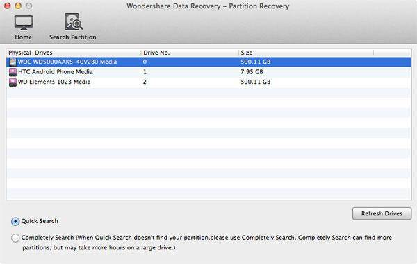 Choose Physical Drive-Lost Partition Recovery