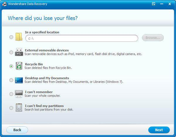 Recover files deleted from recycle bin