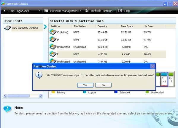 Check Partition- Convert NTFS to FAT