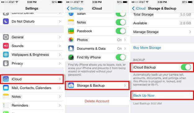 backup iphone, ipad, and ipod to icloud