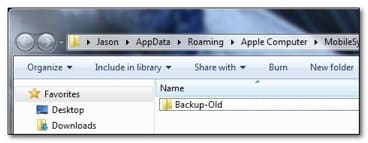 Backup Locations of iTunes