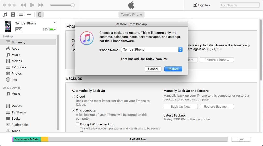 iphone ios 9 yazılım geri yükleme