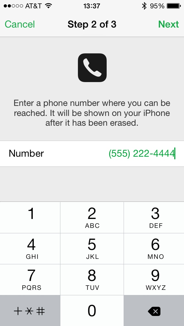enter phone number erase iphone