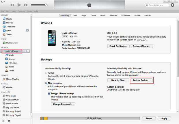 restore iphone from previous backup