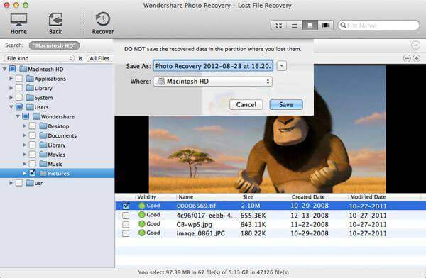 Wondershare Photo Recovery for Mac Screenshot