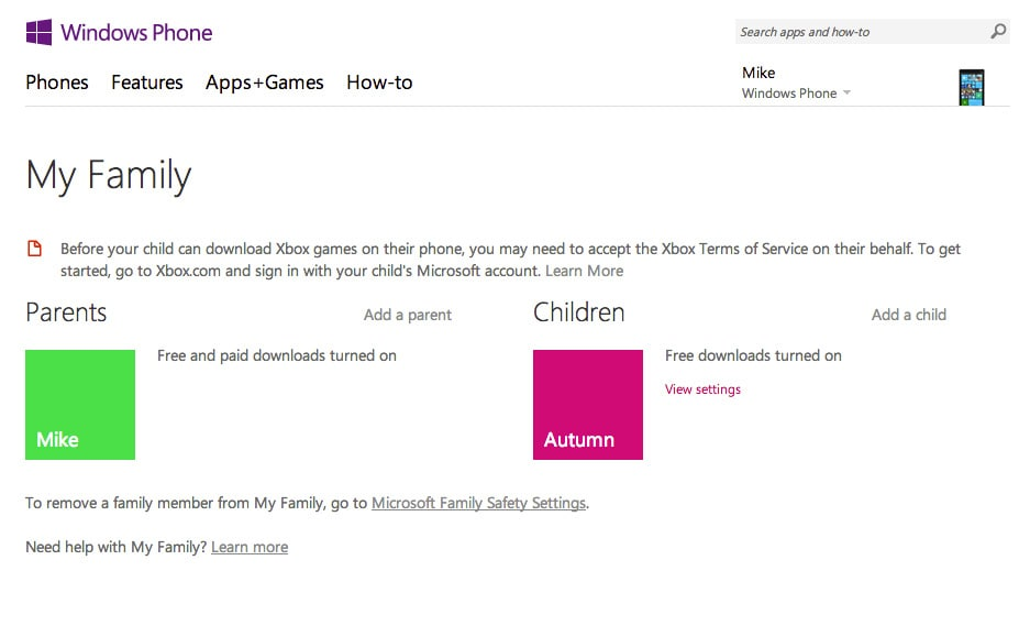 how to delete my family on windows phone