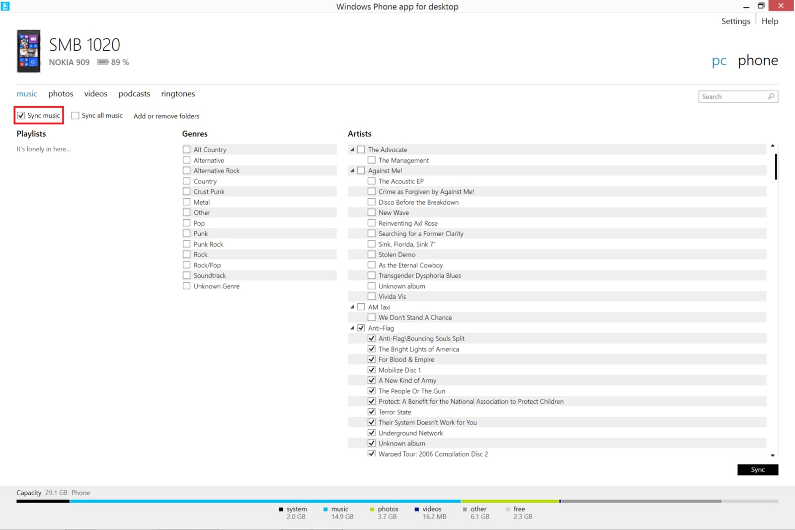Also check the boxes next to the genres bands and or albums that