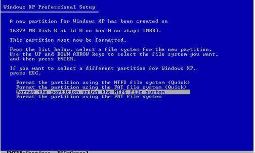 format disk windows xp