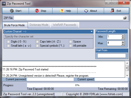 zip password recovery tool main