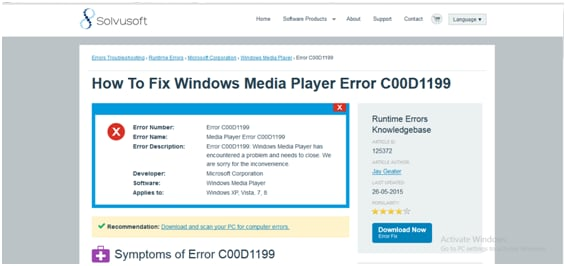 6 solutions for windows media player error c00d1199