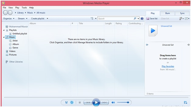 windows media player in library mode