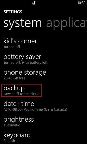 backup lumia contacts