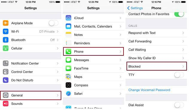 how to find blocked numbers on iphone