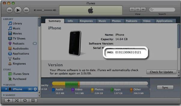 how to find iphone imei