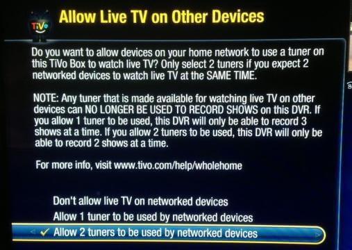 allow live tv page
