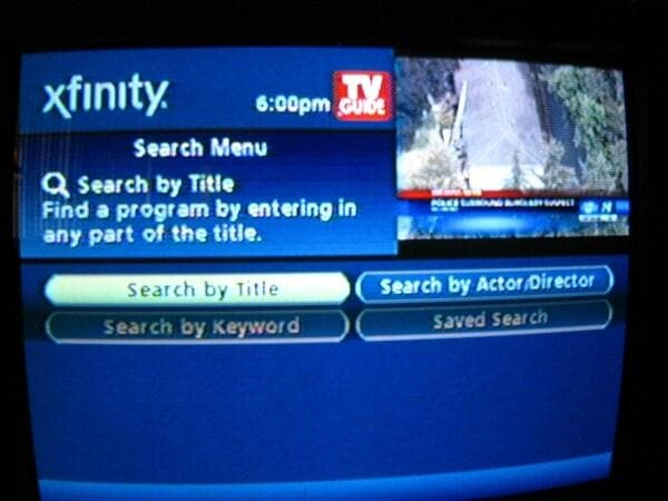 comcast search screen