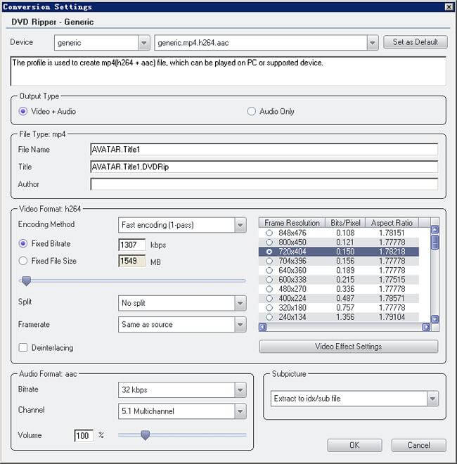 conversion settings dvd ripper