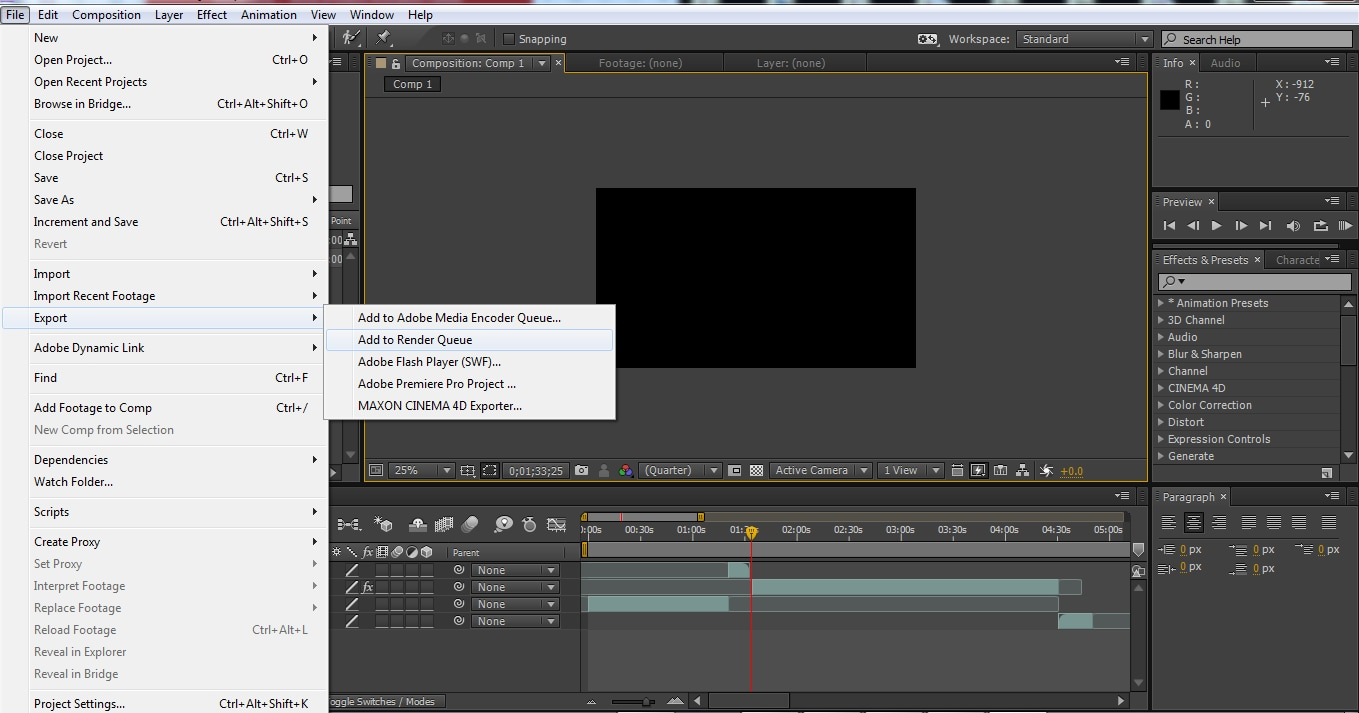 Exporting the file
