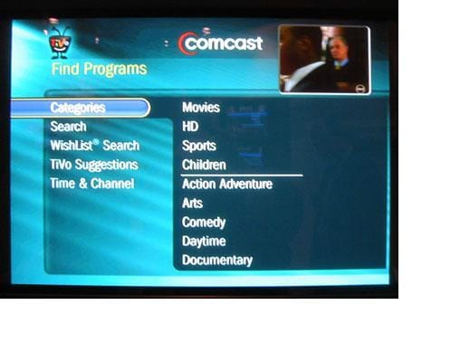 tivo comcast interface