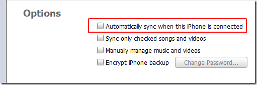 disable auto sync itunes