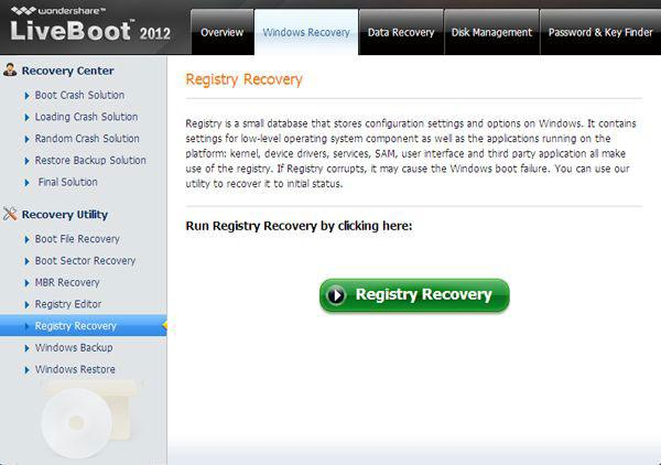 registry recovery one of the files