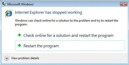 internet explorer stopped working