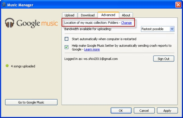 upload grooveshark to google music from folder