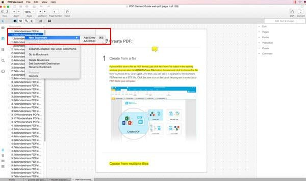 add bookmark to PDF
