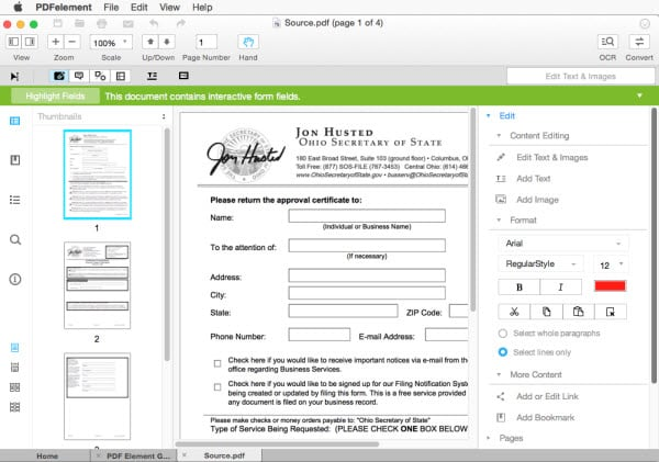 Adobe Reader for Mac to fill PDF form