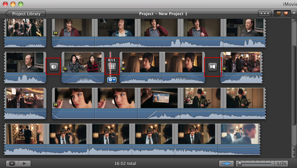 iMovie add transition