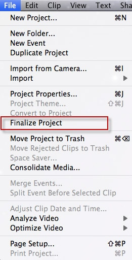 finalize imovie project