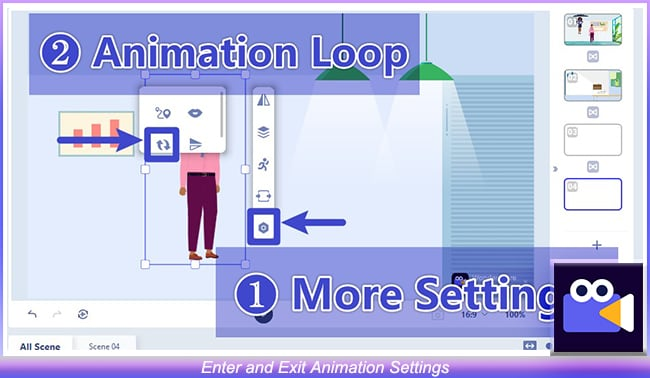 Enter and Exit Animation Settings