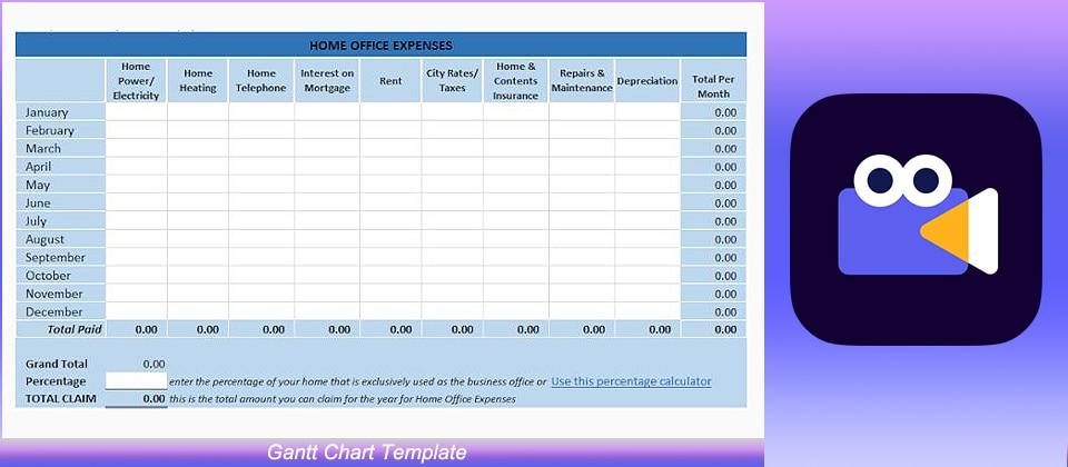 Home Office Expense Tracker Template