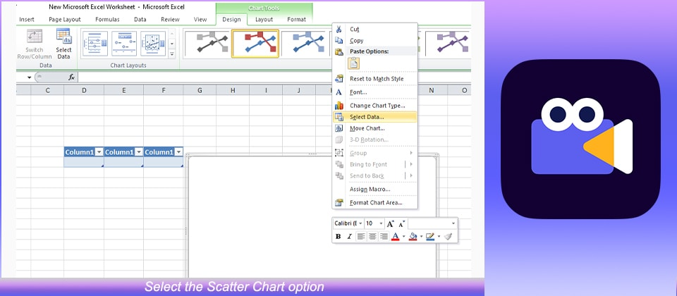 Select the Scatter Chart option