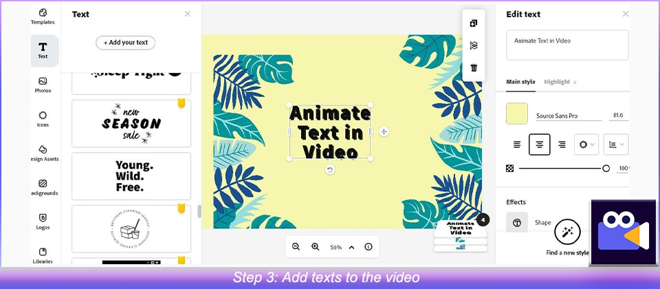 Add texts to the video