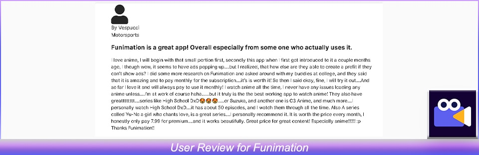 User Review of Funimation